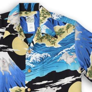 アロハシャツ・ララカイ(LALAKAI)|HL-066 兎と富士|ブルー|メンズ|縮緬(ちりめん)シルク|薄手生地|半袖|アロハタワー(アロハシャツ販売)