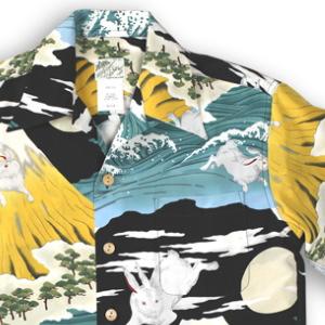アロハシャツ・ララカイ(LALAKAI) HL-066 兎と富士 イエロー メンズ 縮緬(ちりめん)シルク 薄手生地 半袖 アロハタワー(アロハシャツ販売)