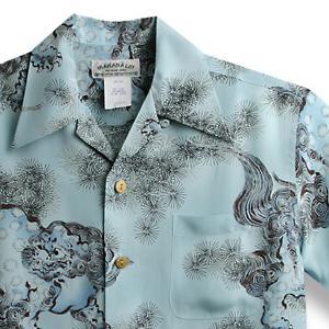 アロハシャツ・マカナレイ(MAKANA LEI)|AMT-044獅子と松・サックス|メンズ|縮緬(ちりめん)シルク|薄手生地|半袖|アロハタワー(アロハシャツ販売) MAKANALEI