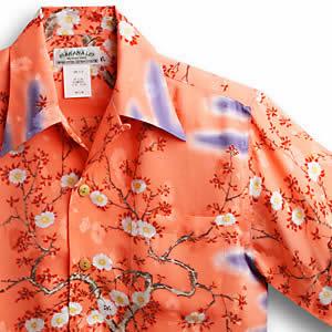アロハシャツ マカナレイ(MAKANA LEI)AMT-051EX 大桜エクセレント|ピンク|メンズ|平織りジャガードシルク|薄手生地|半袖|アロハタワー(アロハシャツ販売)