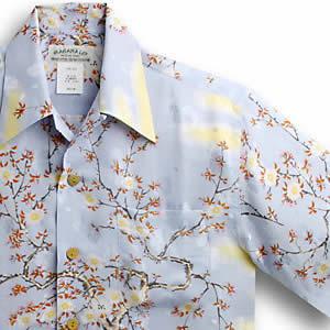 アロハシャツ マカナレイ(MAKANA LEI)AMT-051EX 大桜エクセレント|サックス|メンズ|平織りジャガードシルク|薄手生地|半袖|アロハタワー(アロハシャツ販売)