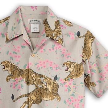 アロハシャツ マカナレイ(MAKANA LEI)|AMT-052N 桜虎|アイボリー|メンズ|オリエンタルシルク|厚手生地|半袖|アロハタワー(アロハシャツ販売)