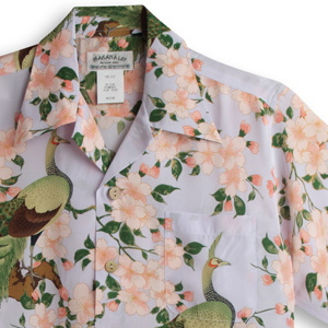 アロハシャツ・マカナレイ(MAKANA LEI)|AMT-076孔雀・ライラック|メンズ|縮緬(ちりめん)シルク|薄手生地|半袖|アロハタワー(アロハシャツ販売) MAKANALEI