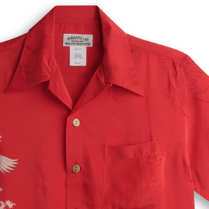 アロハシャツ マカナレイ(MAKANA LEI) AMT-079 鶴 レッド メンズ 縮緬(ちりめん)シルク 薄手生地 半袖 アロハタワー(アロハシャツ販売)