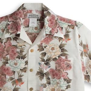 アロハシャツ マカナレイ(MAKANA LEI)|AMT-080 獅子と牡丹|アイボリー|メンズ|縮緬(ちりめん)シルク|薄手生地|半袖|アロハタワー(アロハシャツ販売)