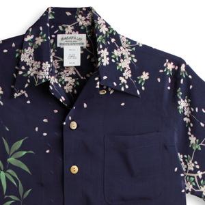 アロハシャツ マカナレイ(MAKANA LEI)|AMT-081 桜と波虎|ネイビー|メンズ|縮緬(ちりめん)シルク|薄手生地|半袖|アロハタワー(アロハシャツ販売)