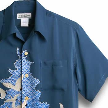 アロハシャツ・マカナレイ(MAKANA LEI)|AMT-040鶴&波・ネイビー|メンズ|縮緬シルク|薄手生地|半袖|アロハタワー(アロハシャツ販売) MAKANALEI