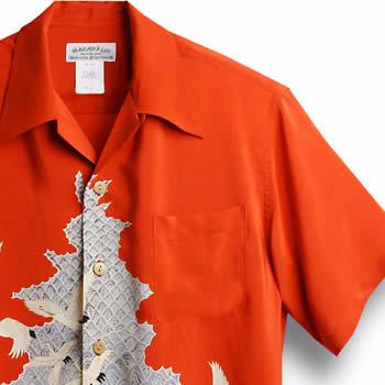 アロハシャツ・マカナレイ(MAKANA LEI)|AMT-040鶴&波・レッド|メンズ|縮緬シルク|薄手生地|半袖|アロハタワー(アロハシャツ販売) MAKANALEI