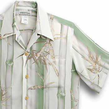 アロハシャツ・マカナレイ(MAKANA LEI)|AMT-049竹・グリーン|メンズ|縮緬シルク|薄手生地|半袖|アロハタワー(アロハシャツ販売) MAKANALEI