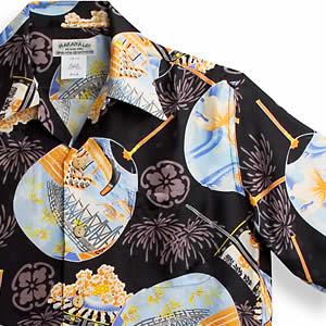 アロハシャツ マカナレイ(MAKANA LEI)AMT-062EX 花火エクセレント|ブラック|メンズ|平織りジャガードシルク|薄手生地|半袖|アロハタワー(アロハシャツ販売)