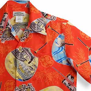 アロハシャツ マカナレイ(MAKANA LEI)AMT-062EX 花火エクセレント|レッド|メンズ|平織りジャガードシルク|薄手生地|半袖|アロハタワー(アロハシャツ販売)