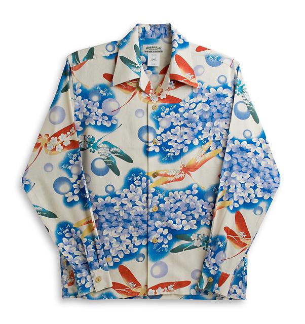 アロハシャツ・マカナレイ(MAKANA LEI)|AMT-063NLとんぼ・ブルー|メンズ|オリエンタルシルク|厚手生地|長袖|アロハタワー(アロハシャツ販売) MAKANALEI 10P23Sep15