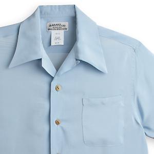 アロハシャツ・マカナレイ(MAKANA LEI)|AMT-075ドラゴンボーダー・ブルーグレイ|メンズ|縮緬(ちりめん)シルク|薄手生地|半袖|アロハタワー(アロハシャツ販売) MAKANALEI