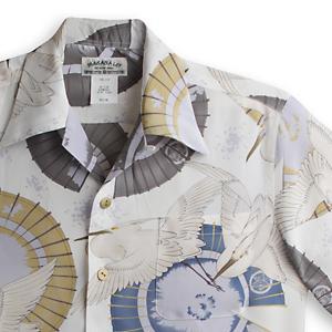 アロハシャツ・マカナレイ(MAKANA LEI) AMT-066サギ・アイボリー メンズ 縮緬(ちりめん)シルク 薄手生地 半袖 アロハタワー(アロハシャツ販売) MAKANALEI