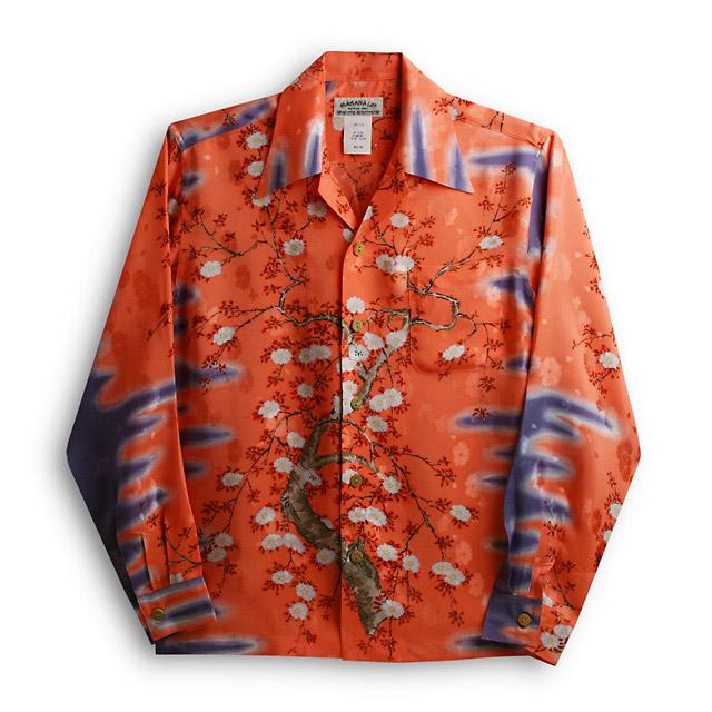 アロハシャツ・マカナレイ(MAKANA LEI)AMT-051EX/L大桜エクセレント|ピンク|メンズ|平織りジャガードシルク|薄手生地|長袖|アロハタワー(アロハシャツ販売) MAKANALEI  10P11Mar16