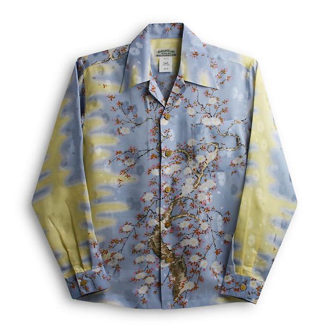 アロハシャツ・マカナレイ(MAKANA LEI)AMT-051EX/L大桜エクセレント|サックス|メンズ|平織りジャガードシルク|薄手生地|長袖|アロハタワー(アロハシャツ販売) MAKANALEI 10P11Mar16