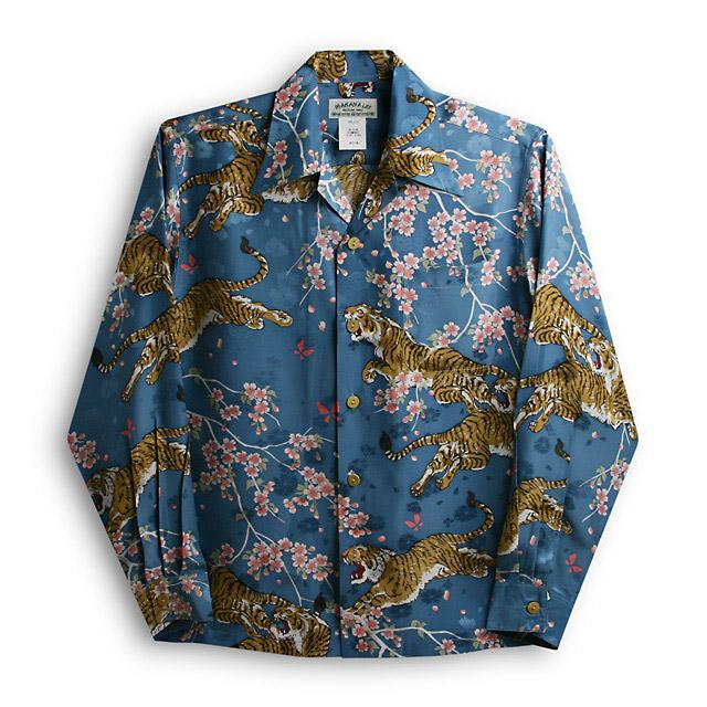 アロハシャツ・マカナレイ(MAKANA LEI)AMT-052EX/L桜&虎エクセレント|ブルー|メンズ|平織りジャガードシルク|薄手生地|長袖|アロハタワー(アロハシャツ販売) MAKANALEI 10P11Mar16