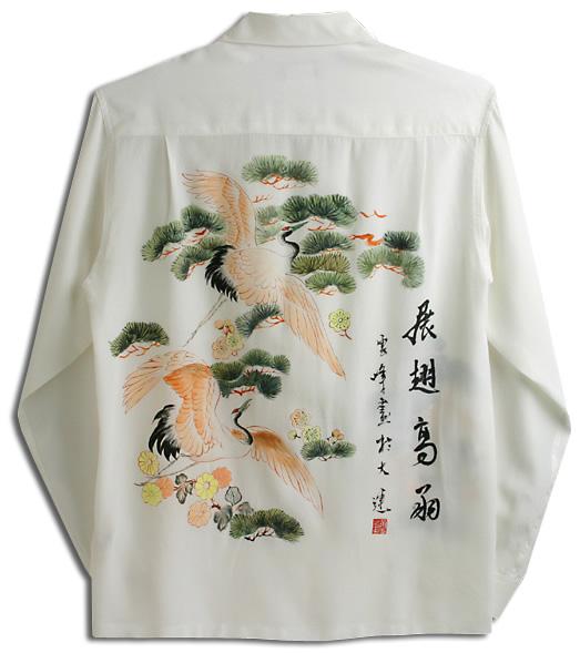 アロハシャツ・マカナレイ(MAKANA LEI)|スペシャルエディション|メンズ|Hand Painting(手描きハワイアンシャツ)|鶴&松(HAD-012-L)|シルクちりめん|長袖|アロハタワー(アロハシャツ販売)