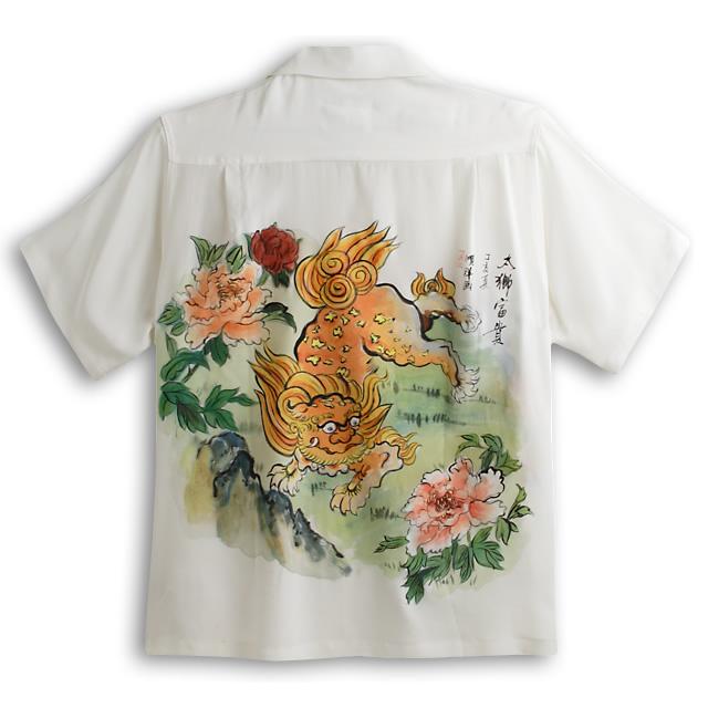 アロハシャツ・マカナレイ(MAKANA LEI)|スペシャルエディション|メンズ|Hand Painting(手描きハワイアンシャツ)|獅子(HAD-006-S)|シルクちりめん|半袖|アロハタワー(アロハシャツ販売)