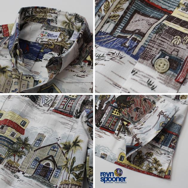 화려한 셔츠|레인스프나(REYN SPOONER)|0125-1805 OLD TOWN(올드・타운)|화이트|코튼 55%폴리에스텔 45%플라스틱 모포 프런트(오모테마에 세워)|안감 사용|보턴다운(BD Collar)|반소매|알로하 타워(화려한 셔츠 판매)