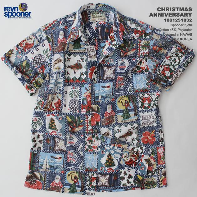 Christmas Hawaiian Shirts.Hawaiian Shirt レインスプーナー Reyn Spooner 0125 1832 Christmas Anniversary Christmas Anniversary Navy Cotton 55 Polyester 45 Placket Front
