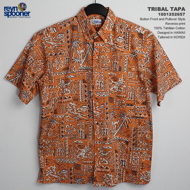 451608570 Aloha shirts-rain Spooner ( REYNSPOONER )-0125-2657 TRIBAL TAPA (tribal Tapa)-Mango-cotton  100% ( 100% Tahitian Cotton )-plaquette front ( table ...