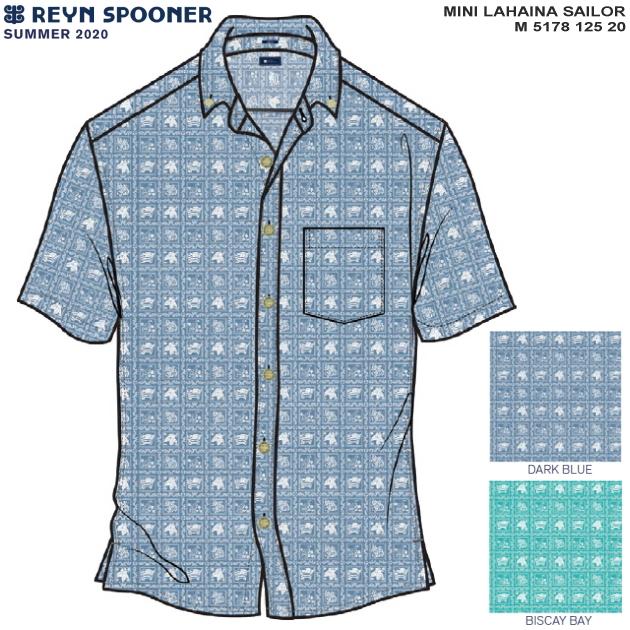 アロハシャツ|レインスプーナー(REYN SPOONER)|M5178-125-20 MINI LAHAINA SAILOR(ミニ ラハイナ セーラー)|DARK BLUE/BISCAY BAY|コットン100%|プラケットフロント|ボタンダウン|半袖|アロハタワー(アロハシャツ販売)