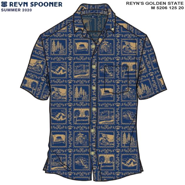 アロハシャツ|レインスプーナー(REYN SPOONER)|M5206-125-20 REYN'S GOLDEN STATE(レインズ ゴールデン ステイト)|ブルー|コットン55% ポリエステル45%|プラケットフロント|裏地使い|ボタンダウン|半袖|アロハタワー(アロハシャツ販売)