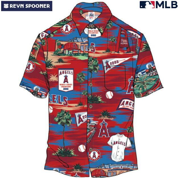 アロハシャツ|レインスプーナー(REYN SPOONER)|B2805-121-19 |MLB 2020 メジャーリーグ公式(MLB SCENIC)|メジャーリーグベースボール ロサンゼルス エンゼルス(LOS ANGELES ANGELS)|コットン100% |ノーマル襟|半袖|アロハタワー(アロハシャツ販売)