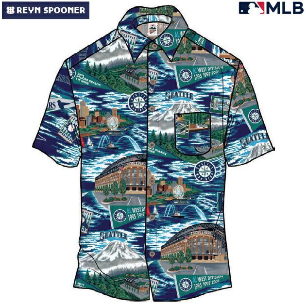 アロハシャツ|レインスプーナー(REYN SPOONER)|B2848-121-20 |MLB 2020 メジャーリーグ公式(MLB SCENIC)|メジャーリーグベースボール シアトル マリナーズ(SEATTLE MARINERS)|コットン100% |ノーマル襟|半袖|アロハタワー(アロハシャツ販売)