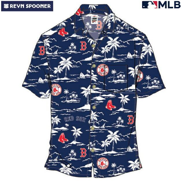 アロハシャツ|レインスプーナー(REYN SPOONER)|B2817-125-19 |MLB 2020 メジャーリーグ公式(VINTAGE MLB)|メジャーリーグベースボール ボストン レッド ソックス(BOSTON RED SOX)|レーヨン100% |ノーマル襟|半袖|アロハタワー(アロハシャツ販売)