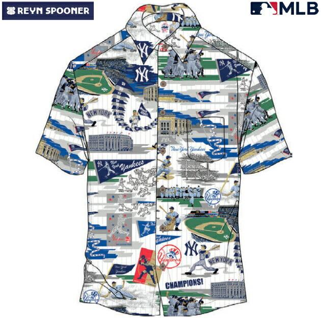 アロハシャツ|レインスプーナー(REYN SPOONER)|B2812-121-19 |MLB 2020 メジャーリーグ公式(MLB SCENIC)|メジャーリーグベースボール ニューヨーク ヤンキース(NEW YORK YANKEES)|コットン100% |ノーマル襟|半袖|アロハタワー(アロハシャツ販売)