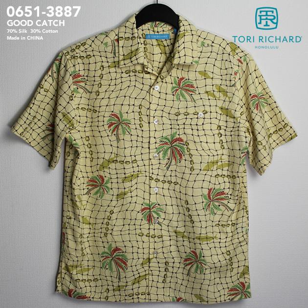 アロハシャツ トリリチャード(TORI RICHARD) tori-3887 GOOD CATCH(グッド・キャッチ) デザート メンズ シルク70% コットン30%(70% Silk 30% Cotton Square Dots) 開襟(オープンカラー) フルオープン 半袖 アロハタワー(アロハシャツ販売)10P03Sep16