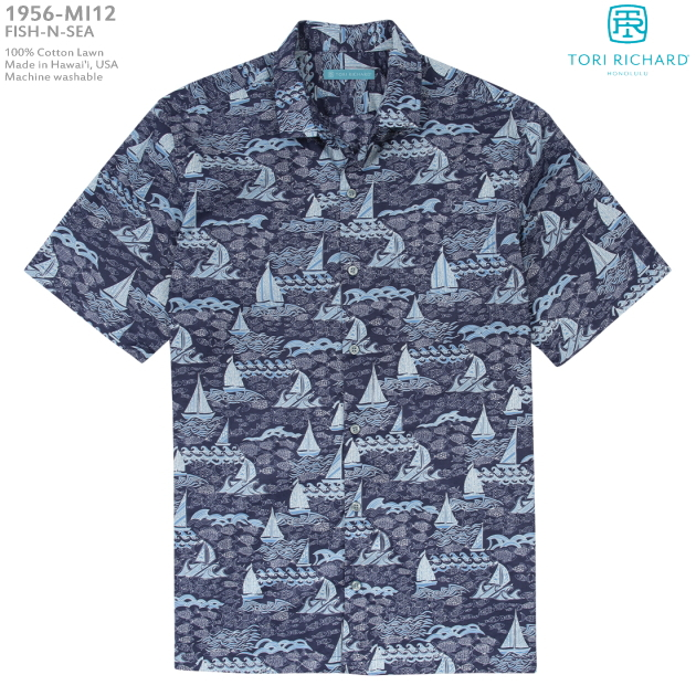 アロハシャツ|トリリチャード(TORI RICHARD)|tori-1956MI12 FISH-N-SEA(フィッシュ アンド シー)|ネイビー|メンズ|コットン・ローン100%|ノーマル襟(レギュラーカラー)|スリムフィット(細めのスタイル)|フルオープン|半袖|アロハタワー(アロハシャツ販売)