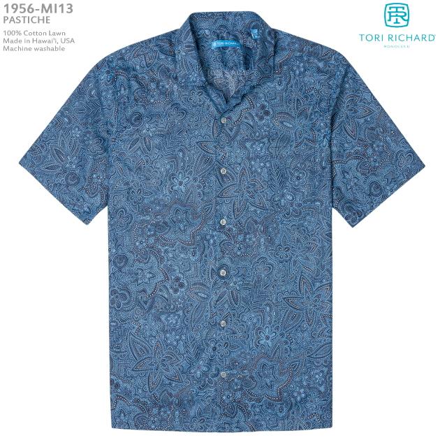 アロハシャツ|トリリチャード(TORI RICHARD)|tori-1956MI13 PASTICHE(パスティーシュ)|ネイビー|メンズ|コットン・ローン100%(Cotton100%)|ノーマル襟(レギュラーカラー)|スリムフィット(細めのスタイル)|フルオープン|半袖|アロハタワー(アロハシャツ販売)