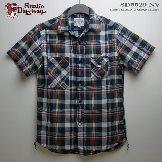 アロハシャツ|ステュディオ・ダ・ルチザン(STUDIO D'ARTISAN)|SD5529 チェック半袖シャツ|ネイビー|コットン100%|ノーマル襟(レギュラーカラー)|フルオープン|半袖|アロハタワー(アロハシャツ販売) 10P11Mar16