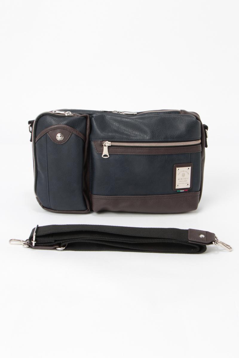 【送料無料】【Bianchi(ビアンキ)】スムース3WAYショルダーバッグ 【ikka メンズ】 ボディバッグにも ポケット豊富で整理しやすい