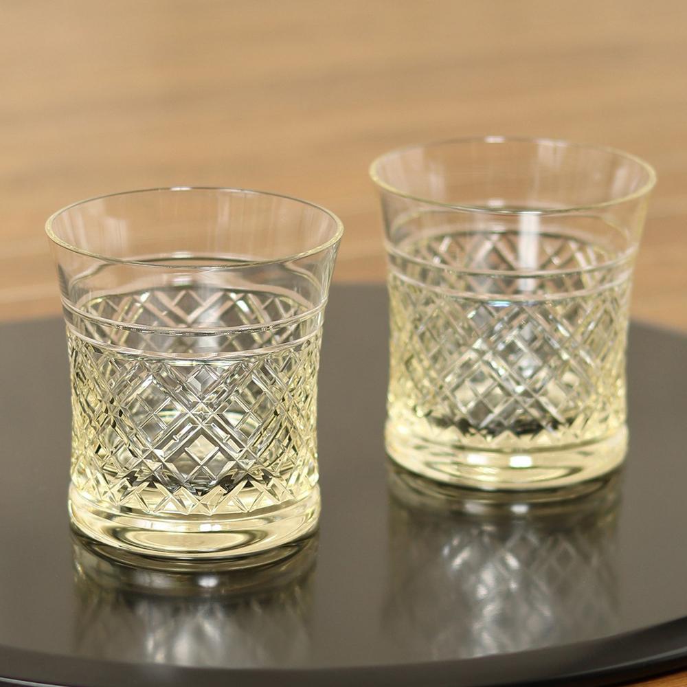 【送料無料】琥珀(こはく)ペアオンザロックセット 250ml ■ グラス コップ 切子 専用木製ケース ギフト 【TOKYO DESIGN CHANNEL】