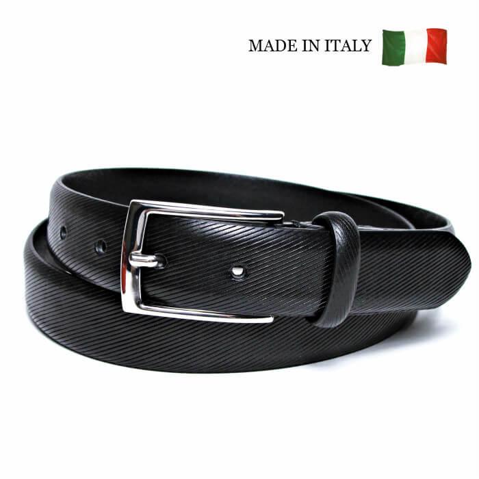【スーパーSALE 10%OFF】 イタリア製 本革 ベルト メンズ ブラック 黒 30mm幅 ノーステッチ ビジョウタイプ メンズベルト フリーサイズ 調整可 GAPO 20048