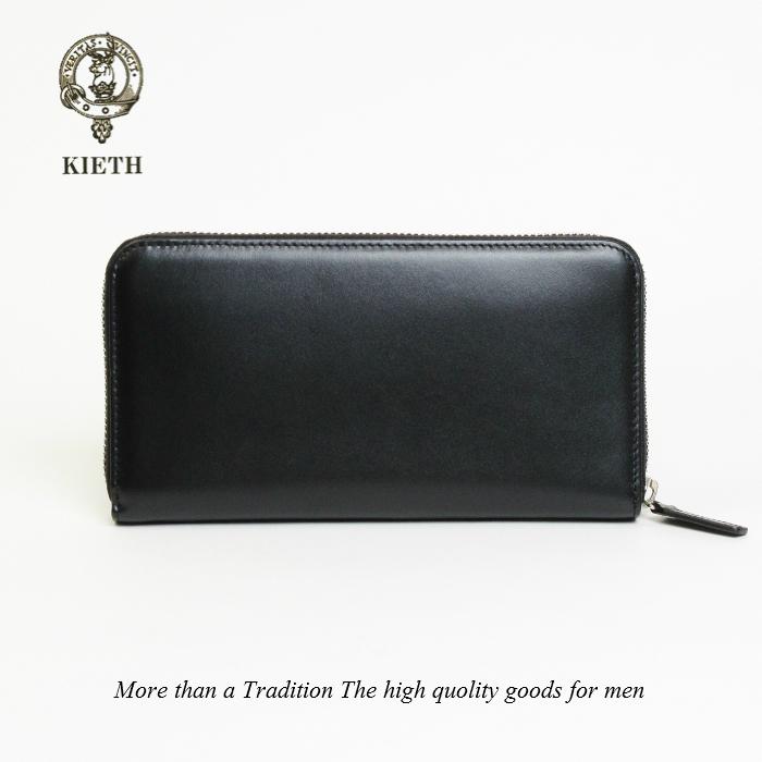 長財布 メンズ ラウンドファスナー 本革 ビジネス 牛革 財布 スムース レザー ブラック 黒 BLACK 小銭入れあり KIETH キース KE1361