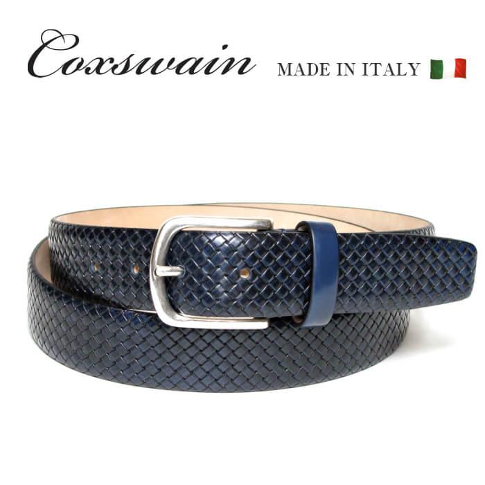 メッシュ型押し ベルト メンズ COXSWAIN コックスウェイン イタリア製 カジュアル ビジネス 本革 ブルー レザー 3.5cm幅 CW20110