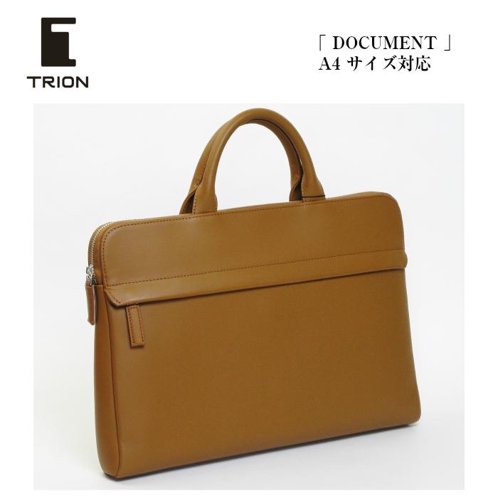 TRION トライオン バッグ ビジネスバッグ 本革 薄マチ A4ドキュメントケース SA112 ブリーフケース タン キャメル メンズ レディース