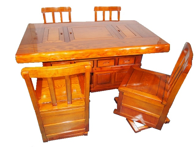 【送料無料】欅(ケヤキ)テーブル 5点セット 炉付 茶色