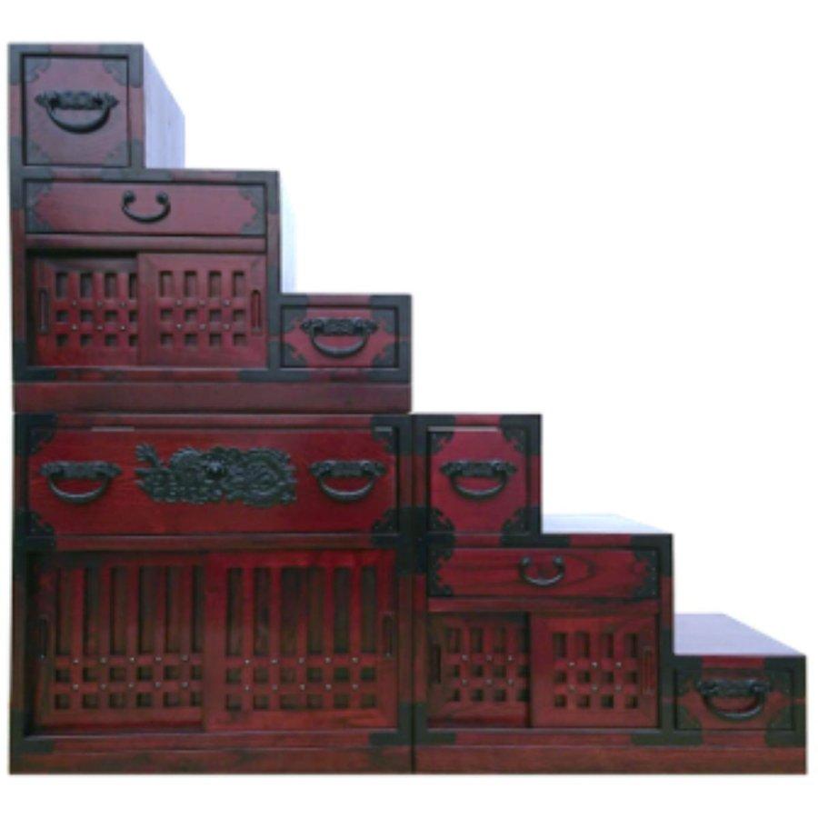 【送料無料】欅 階段タンス【大】 / ケヤキ 箪笥 和家具 民芸家具 R1165