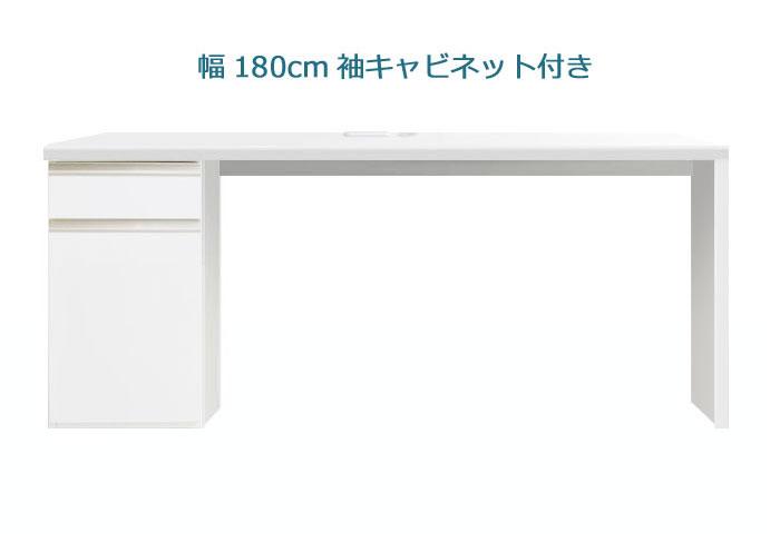 システムデスク パレット 180cm幅 サイドキャビネット付き グロスホワイト ウォールナット