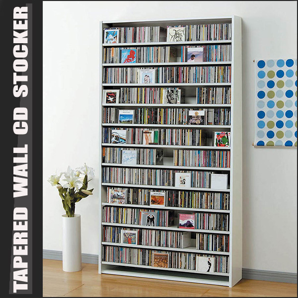 CDラック 大容量 = 最大CD1284枚・DVD560収納壁面薄型CDストッカー ホワイト [送料無料] 【smtb-F】