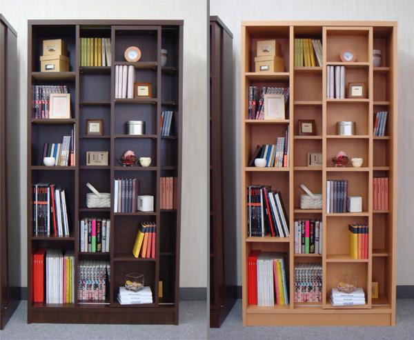 スライド書棚 SR 幅89cm ダークブラウン ナチュラル