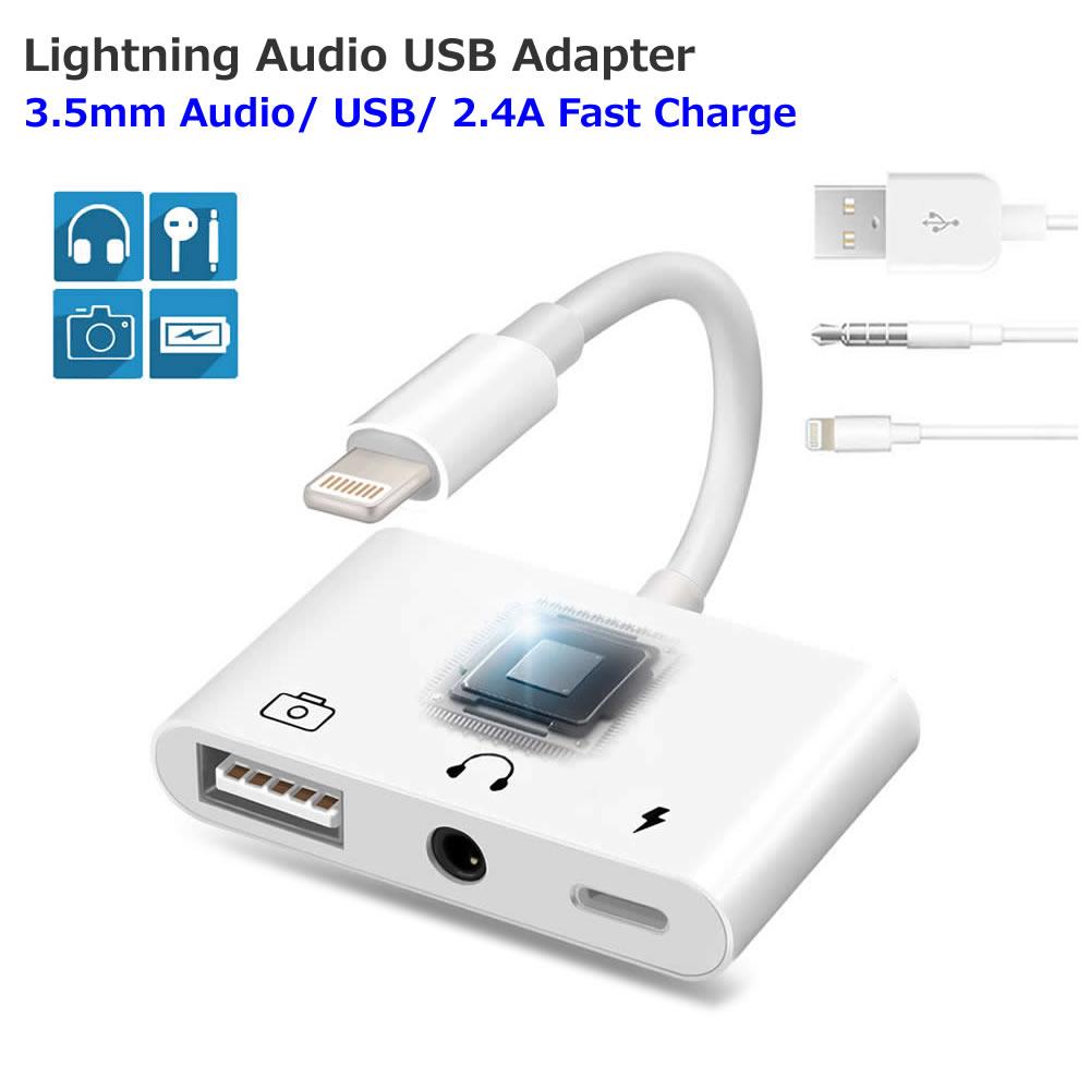送料無料 iPhone iPad Lightning to 3.5mm イヤホンジャック USB 変換アダプター 3.5mmオーディオ iPod対応 カメラ接続 写真転送 デバイス接続変換アダプター 人気ショップが最安値挑戦 アダプタ 高速な写真とビデオ転送 引出物 ライトニング キーボード 充電 ケーブル