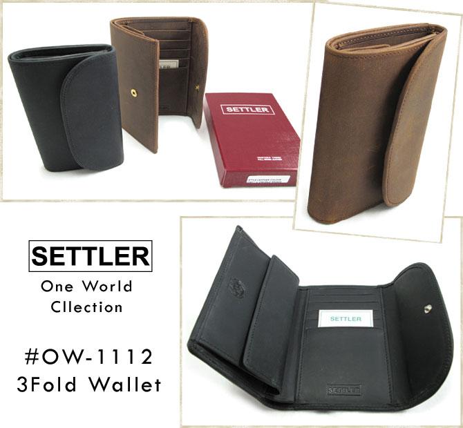 (セトラー) SETTLER #OW-1112 3Fold Wallet 3つ折財布ワンワールドコレクション 本革 オイルドレザー ブラウン ブラックWhitehouseCox ホワイトハウスコックスの2ndライン!! (送料無料/男女兼用/ビジネス/カジュアル/オンオフ/ギフト/プレゼント)