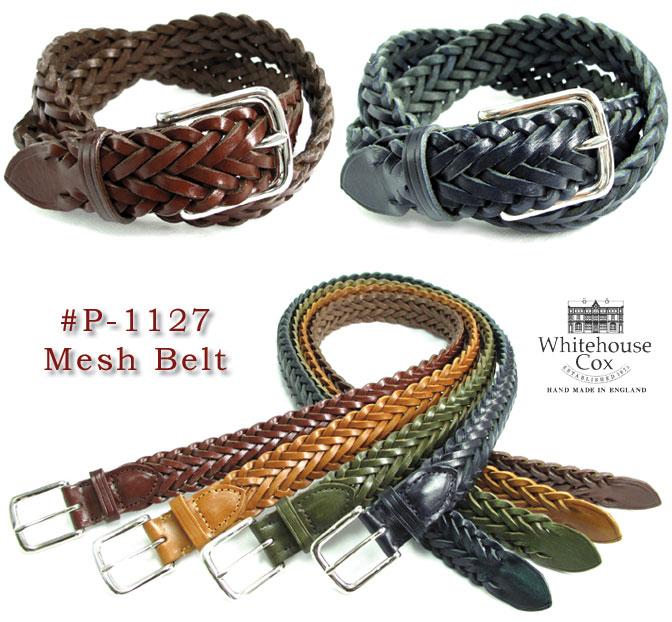 (ホワイトハウスコックス) Whitehouse Cox #P-1127 Mesh Belt メッシュベルト フルグレインカウハイド 牛革 Dress Belt 幅32mm 英国製 真鍮製バックル シルバーコーティング(送料無料/男女兼用/ドレス/ビジネス/本革/ギフト/黒/ネイビー/取り寄せ可)